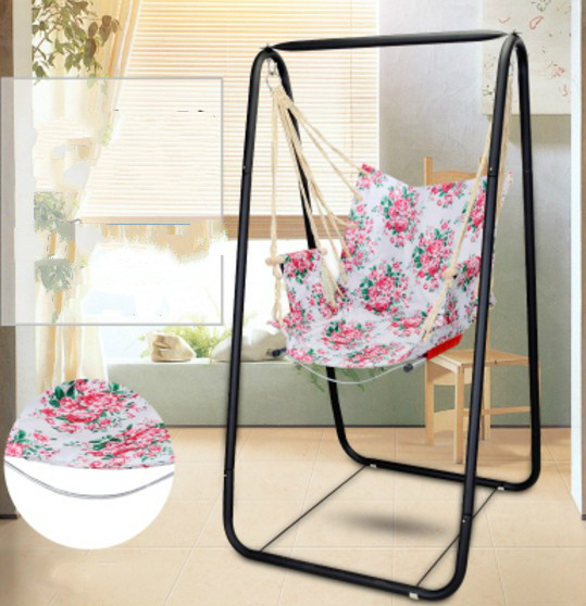 Pink Flower Pattern Indoor Outdoor Hanging Hammock Chair With Metal Frame Happy Hammock Store